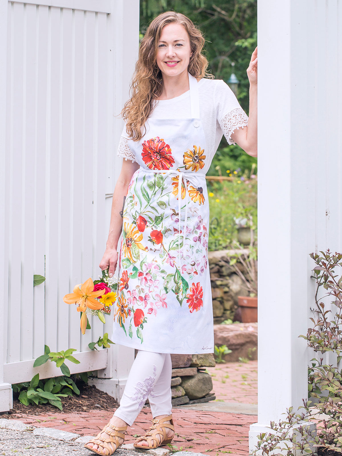 Zinnia Bouquet Chef Apron