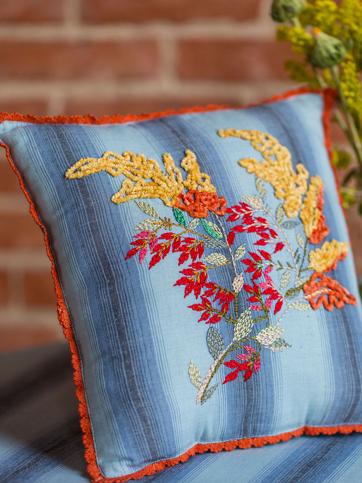 Goldenrod Embroidered Cushion