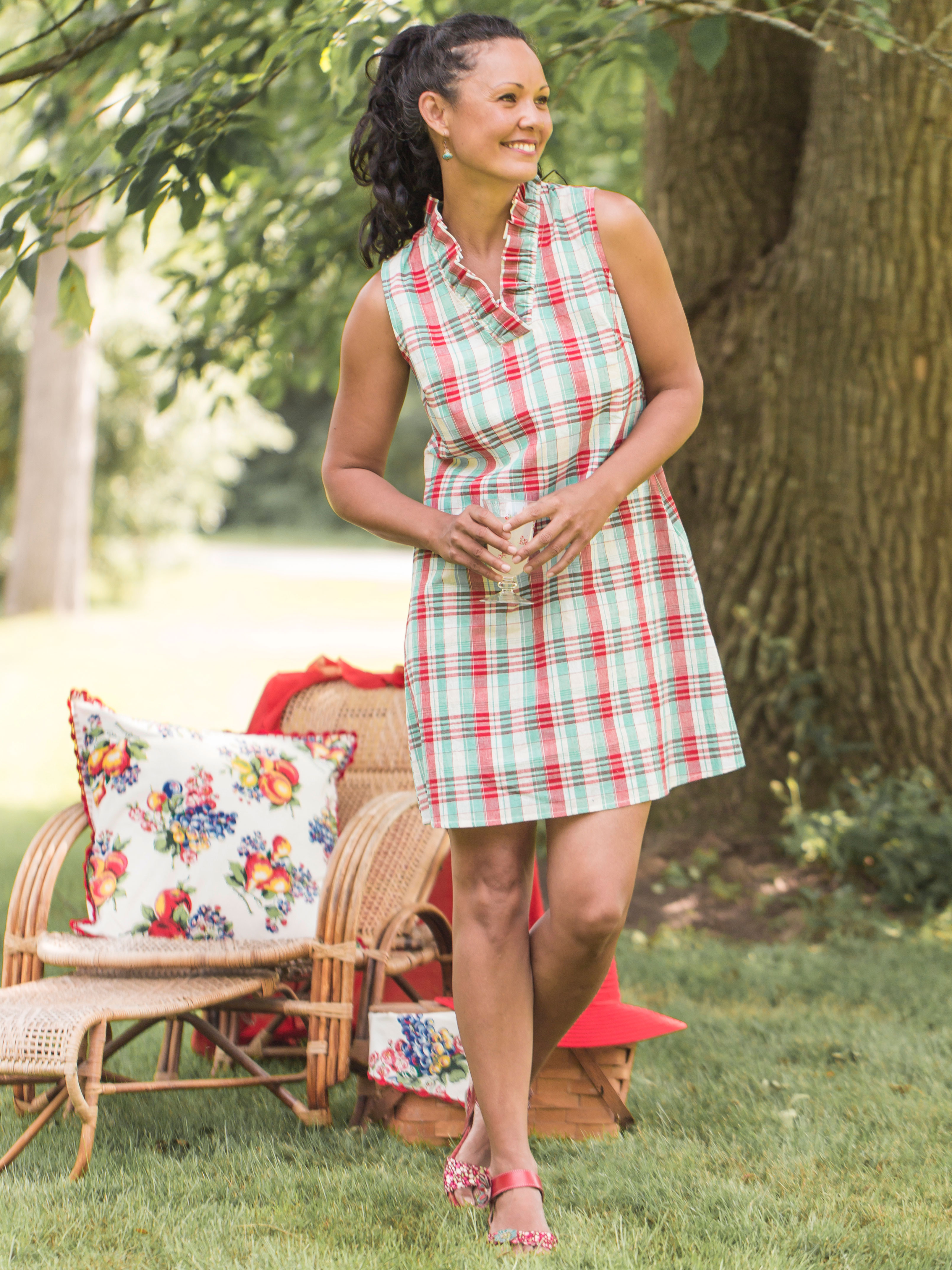 Floral House Check Dress