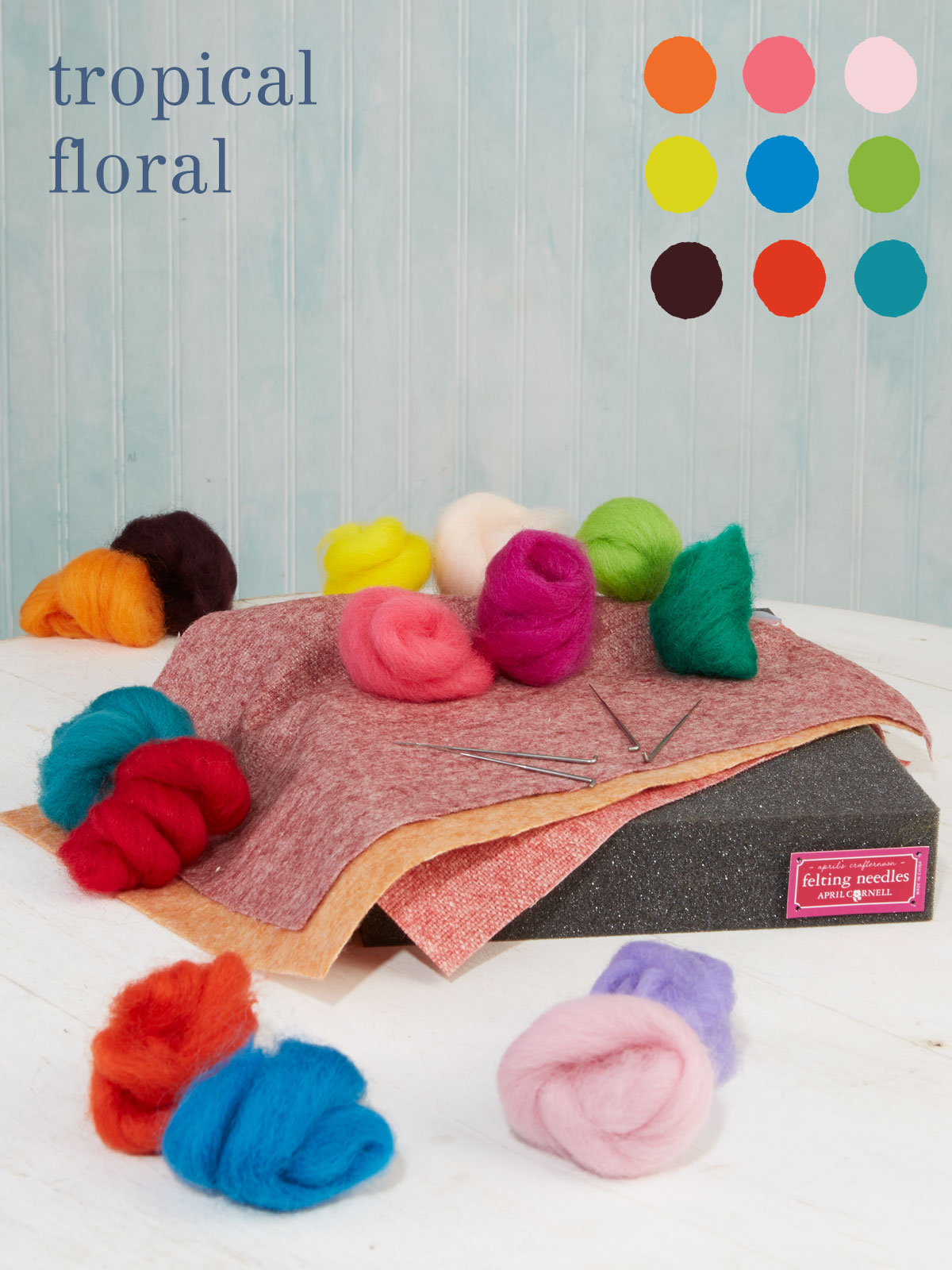 Tropical Flowers Large Felting Kit
