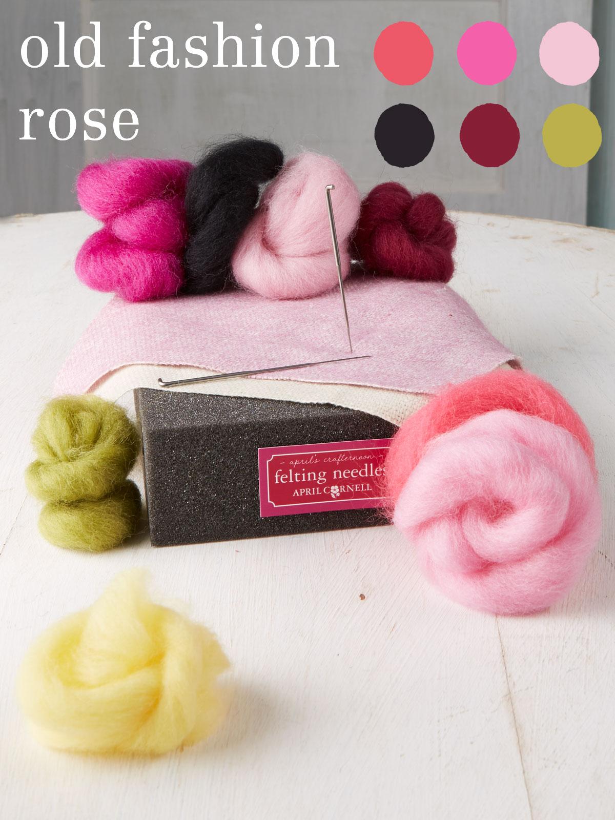 Old Fashion Rose Medium Felting Kit