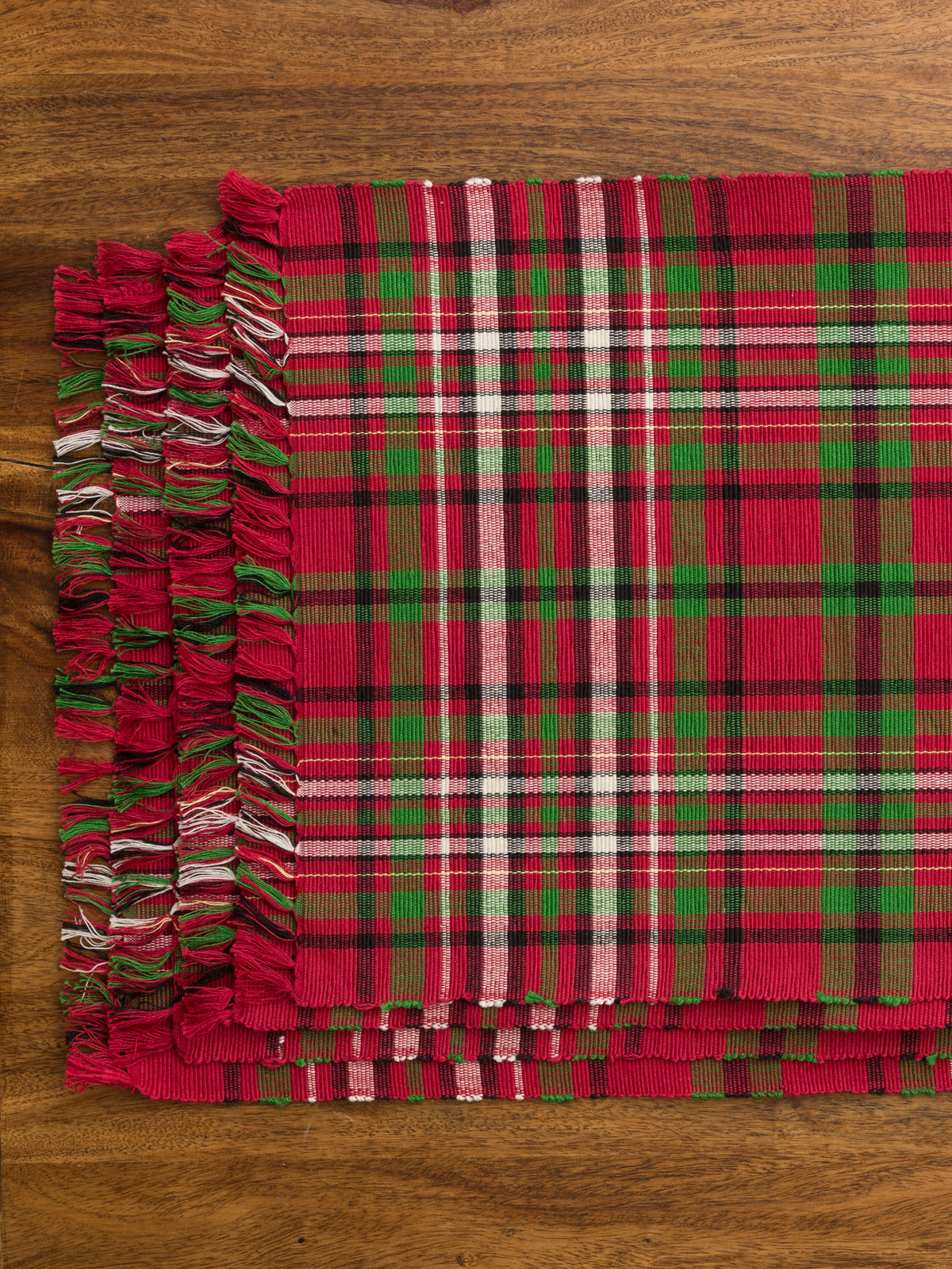 Christmas Plaid Rib Placemat Set 4 Linens Amp Kitchen