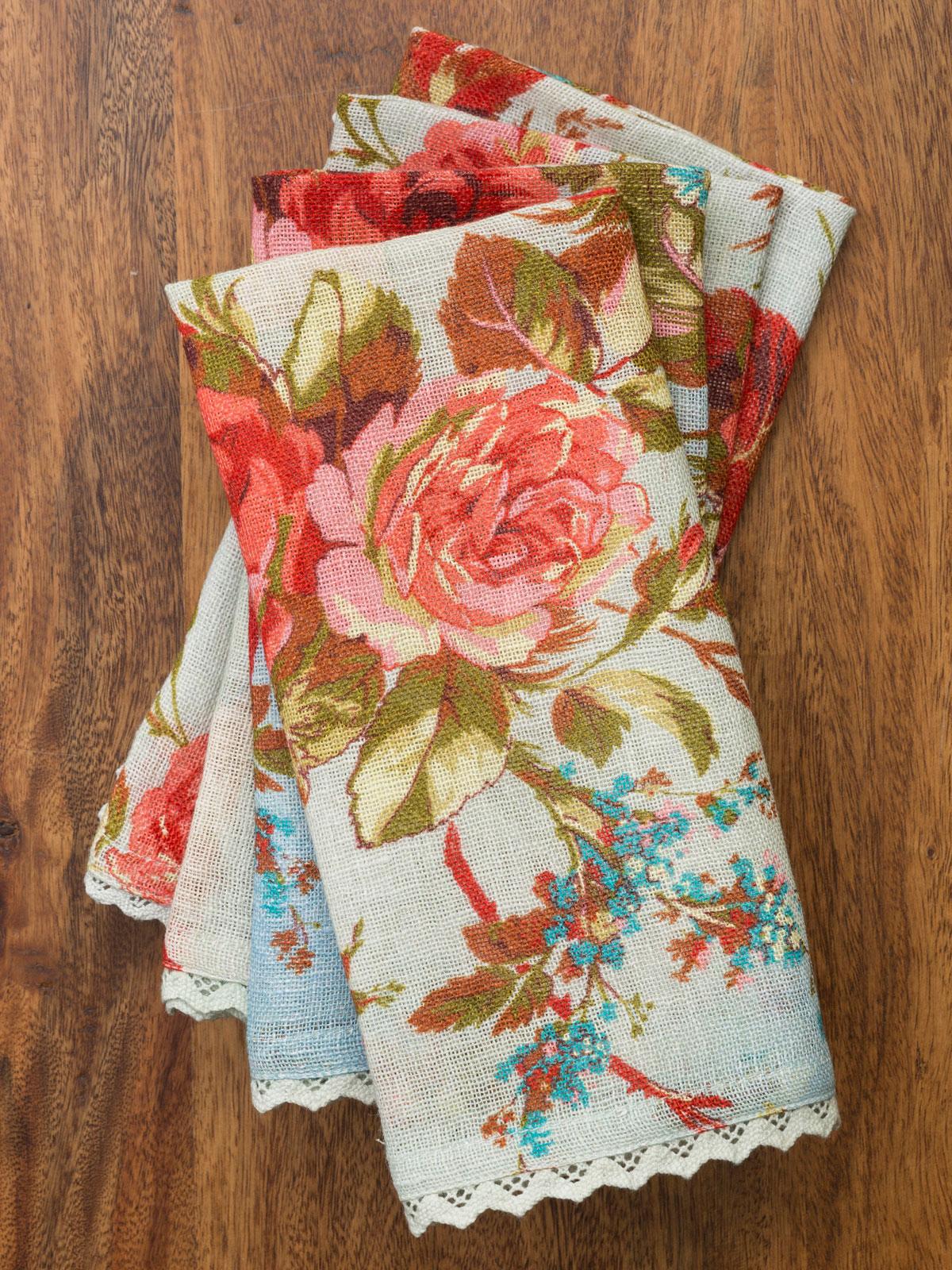 Heirloom Rose Linen Napkin Set Of 4 Kitchen Amp Table
