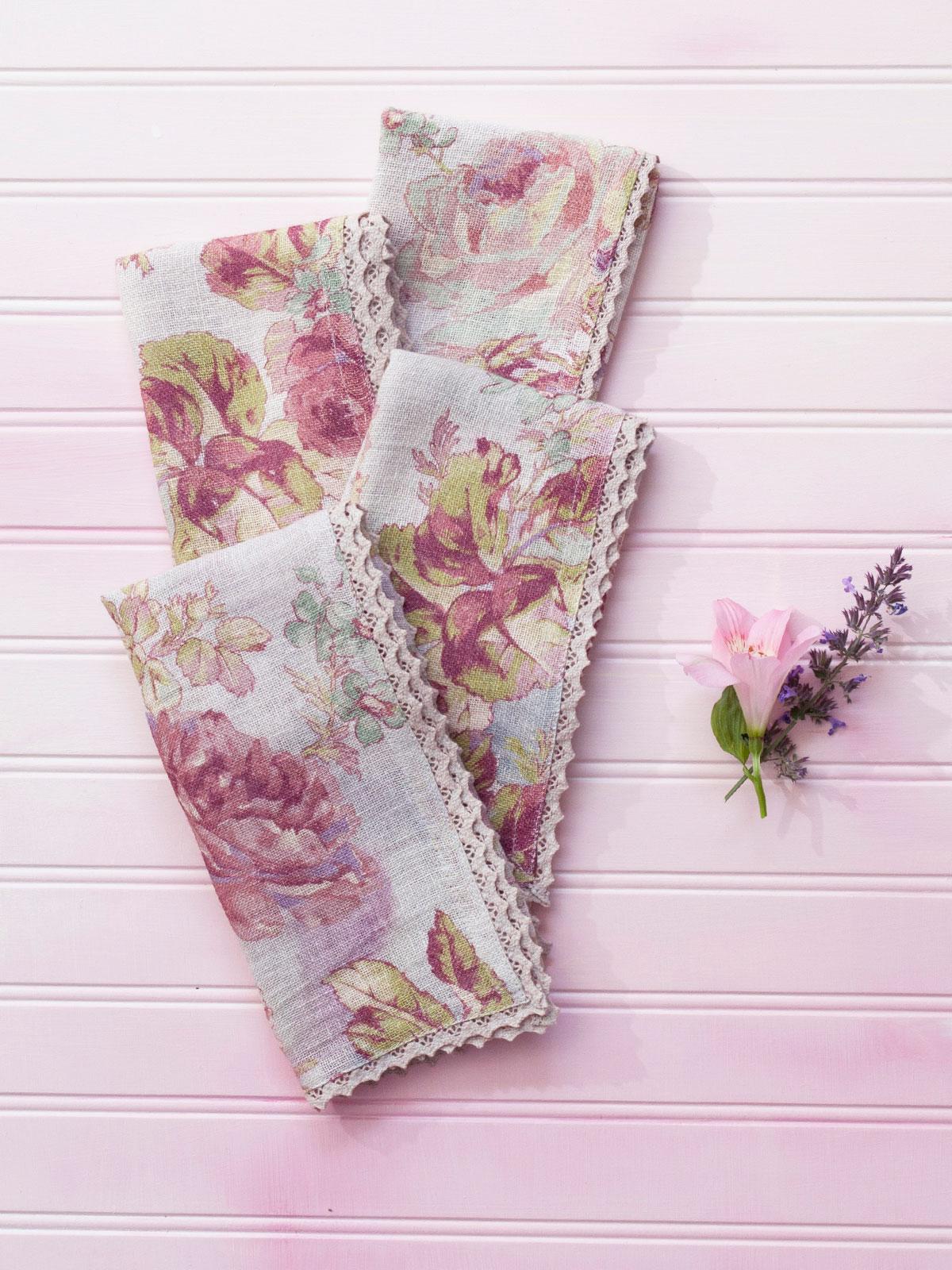 Victorian Rose Linen Napkin Set 4 Kitchen Table Linens Napkins Beautiful Designs By April Cornell