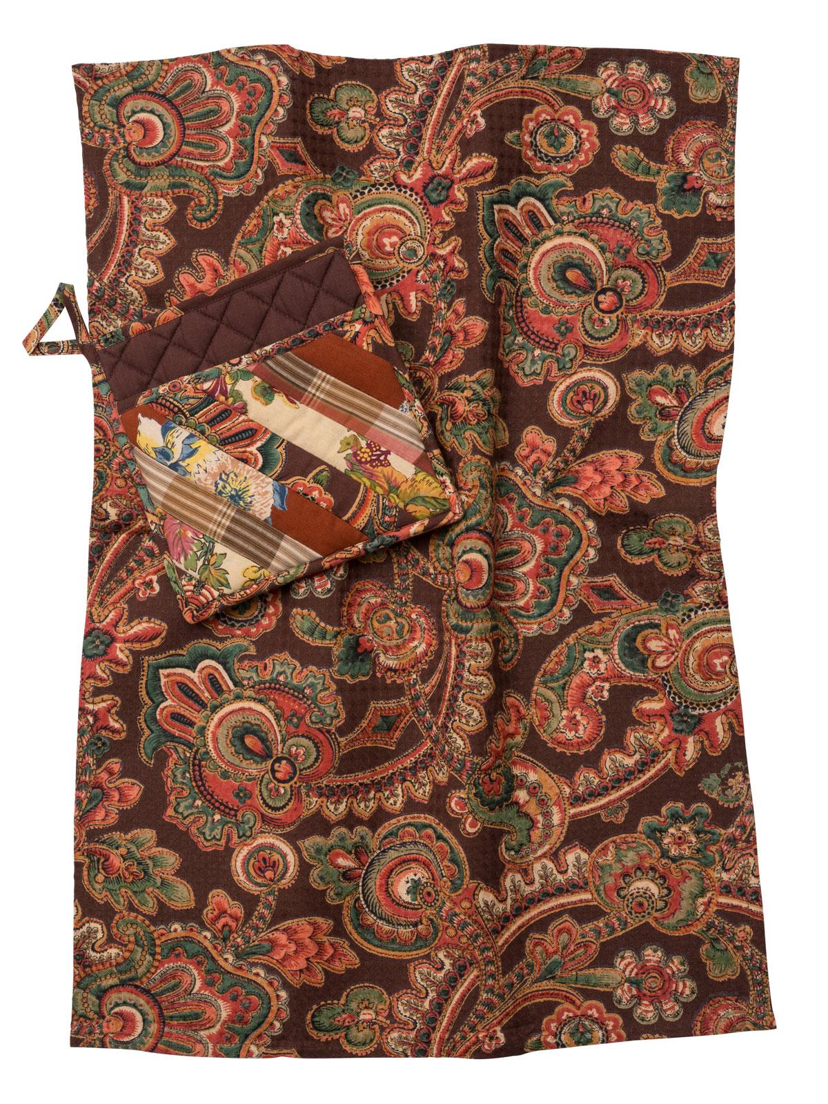 Harvest Riches Patchwork Pocket Potholder & Tea Towel Set