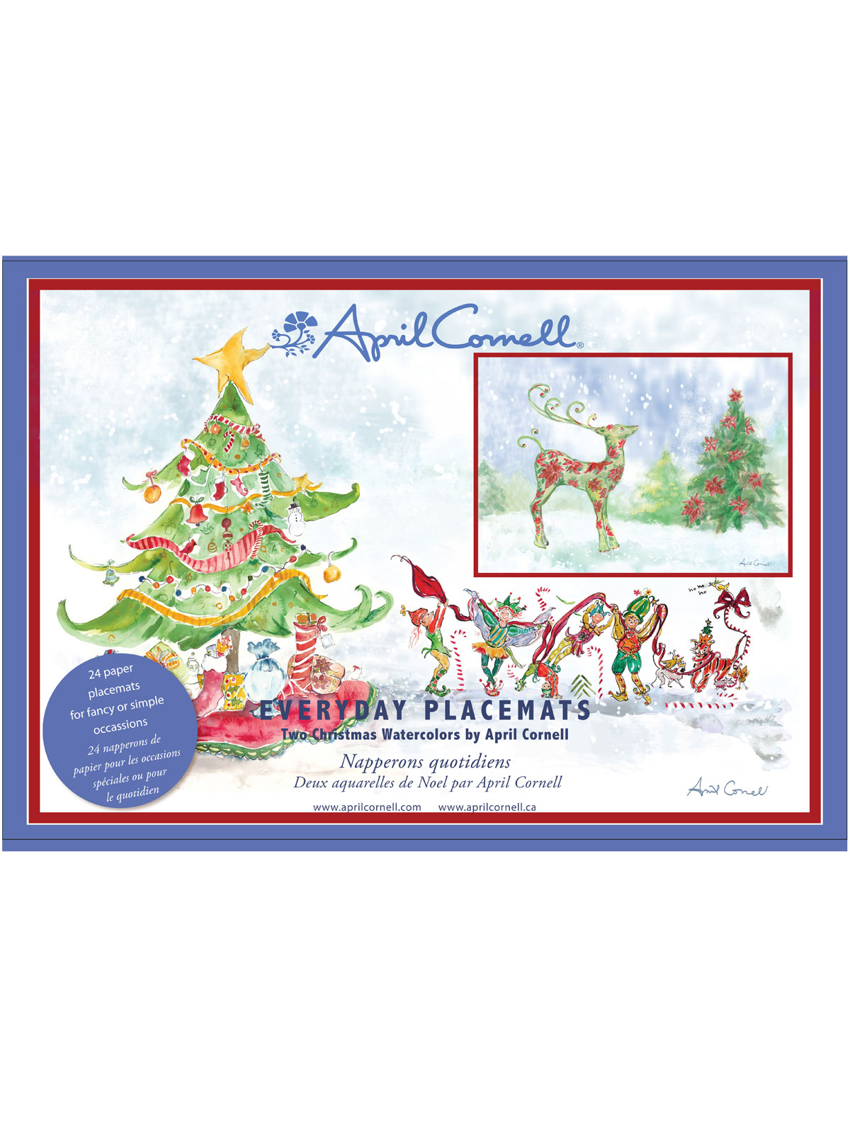 Christmas Watercolors Paper Placemats Set 24 Linens Kitchen Placemats Runners Beautiful