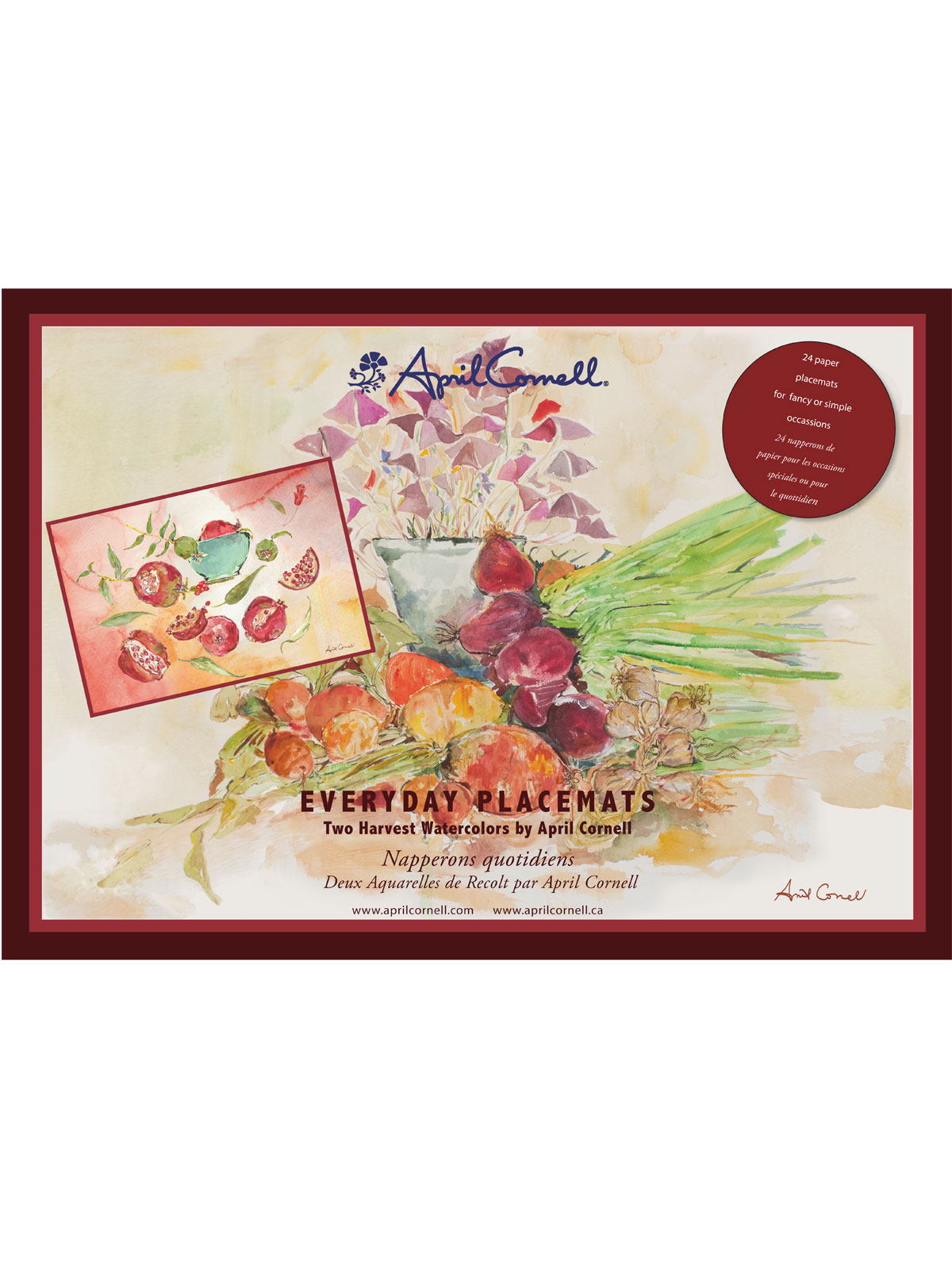 Harvest Watercolor Paper Placemat Set/24