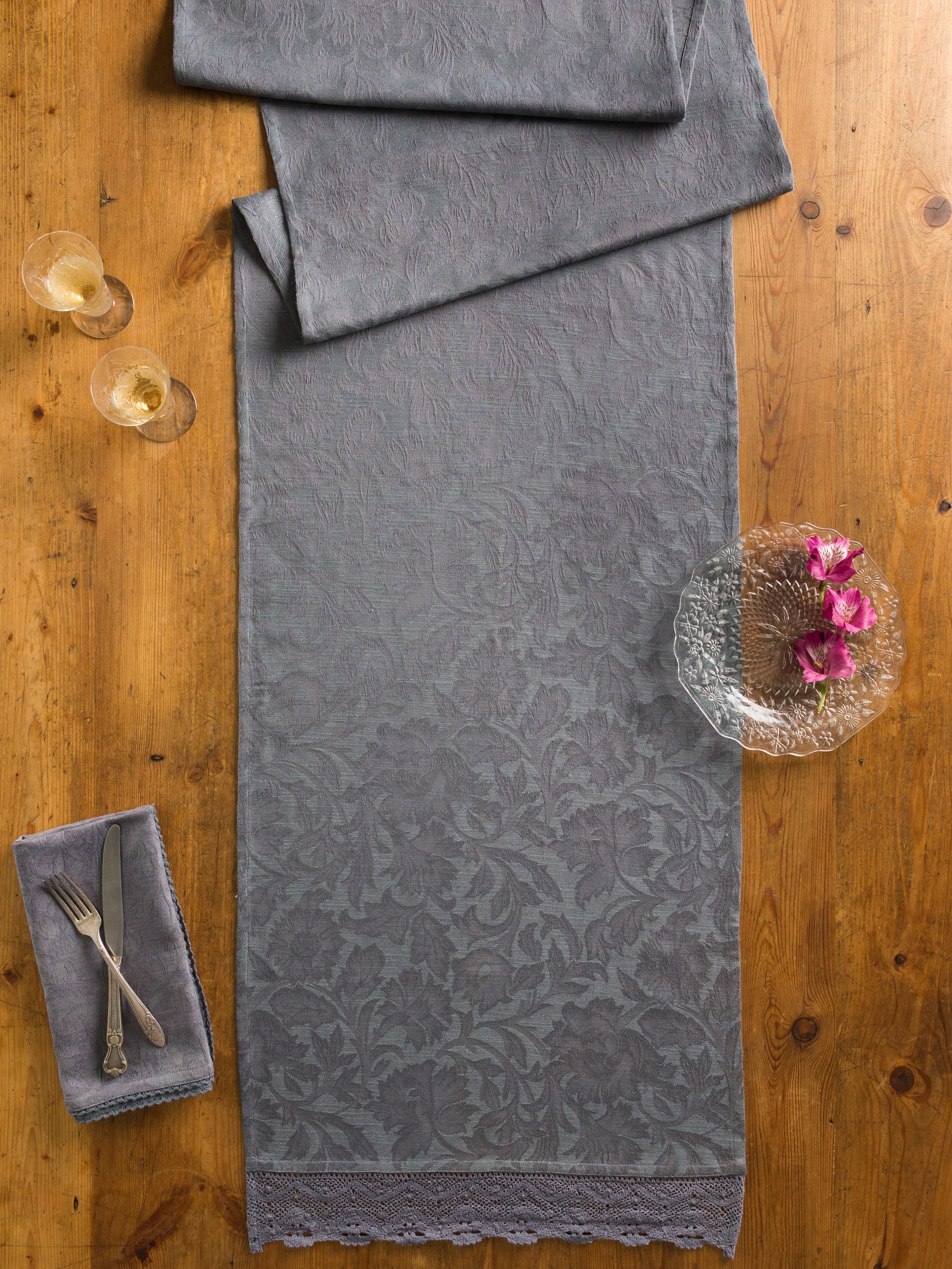 Luxurious Linen Jacquard Runner - Charcoal