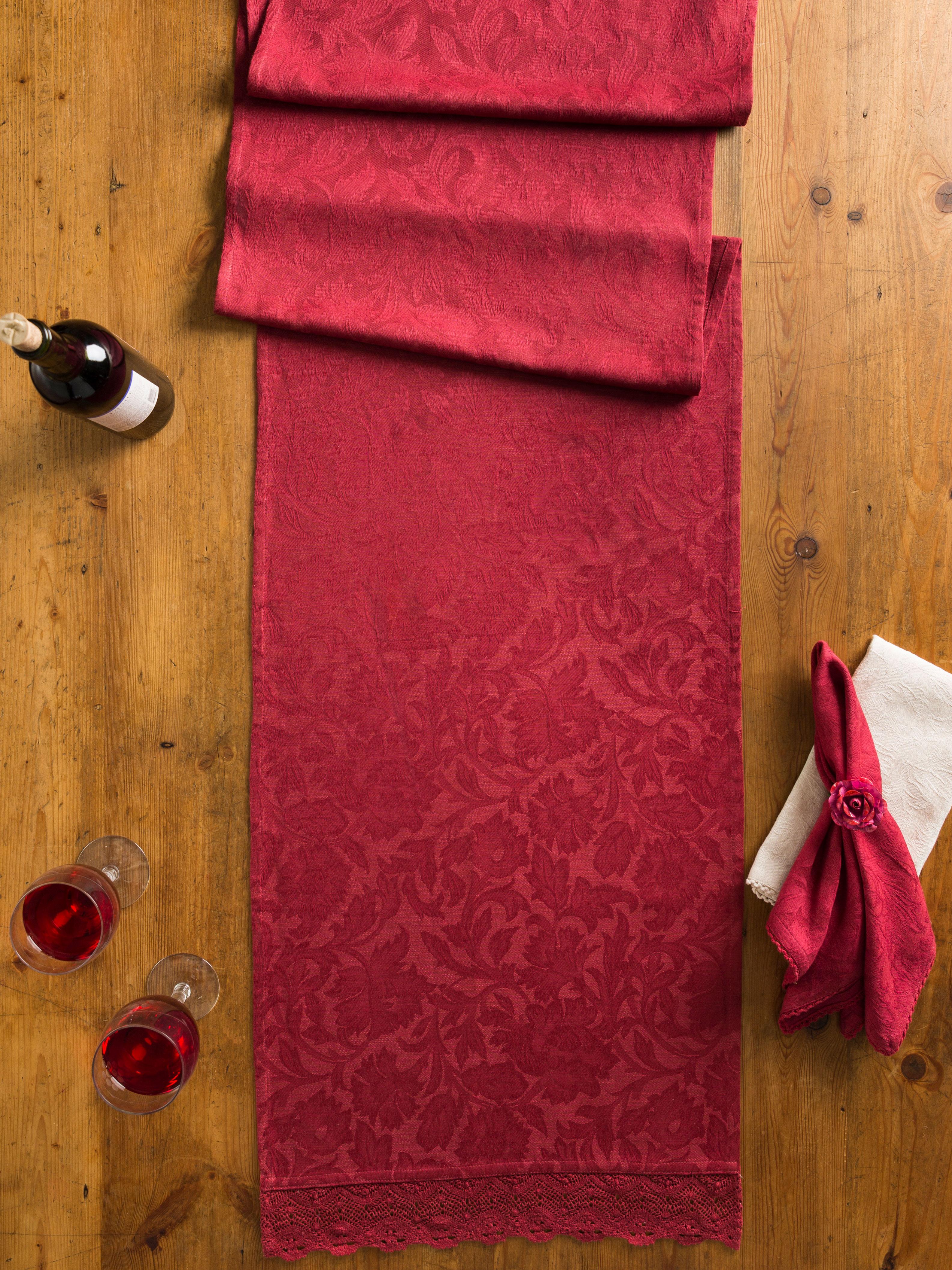 Luxurious Linen Jacquard Runner - Cranberry