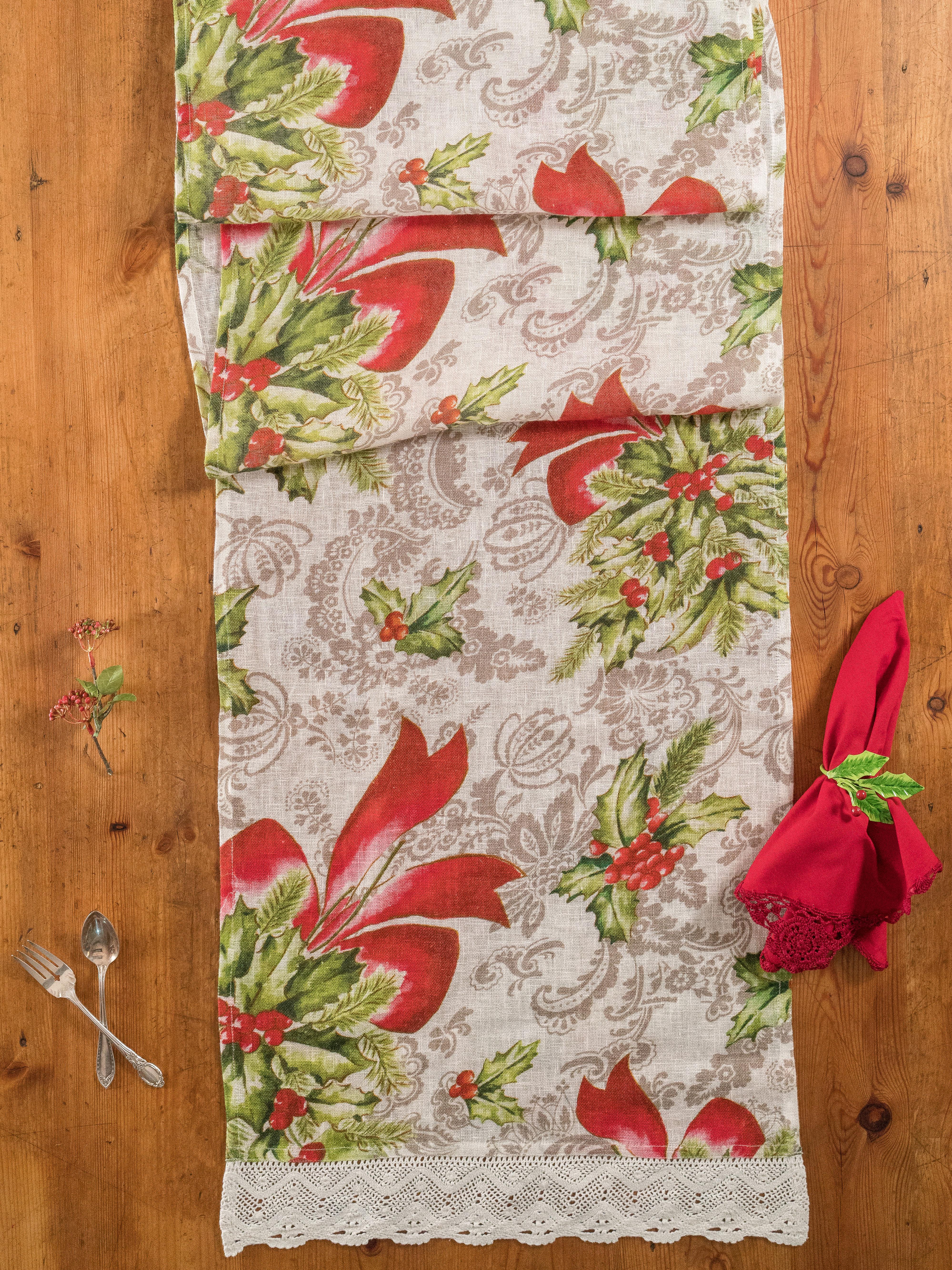 Deck the Holly Linen Runner