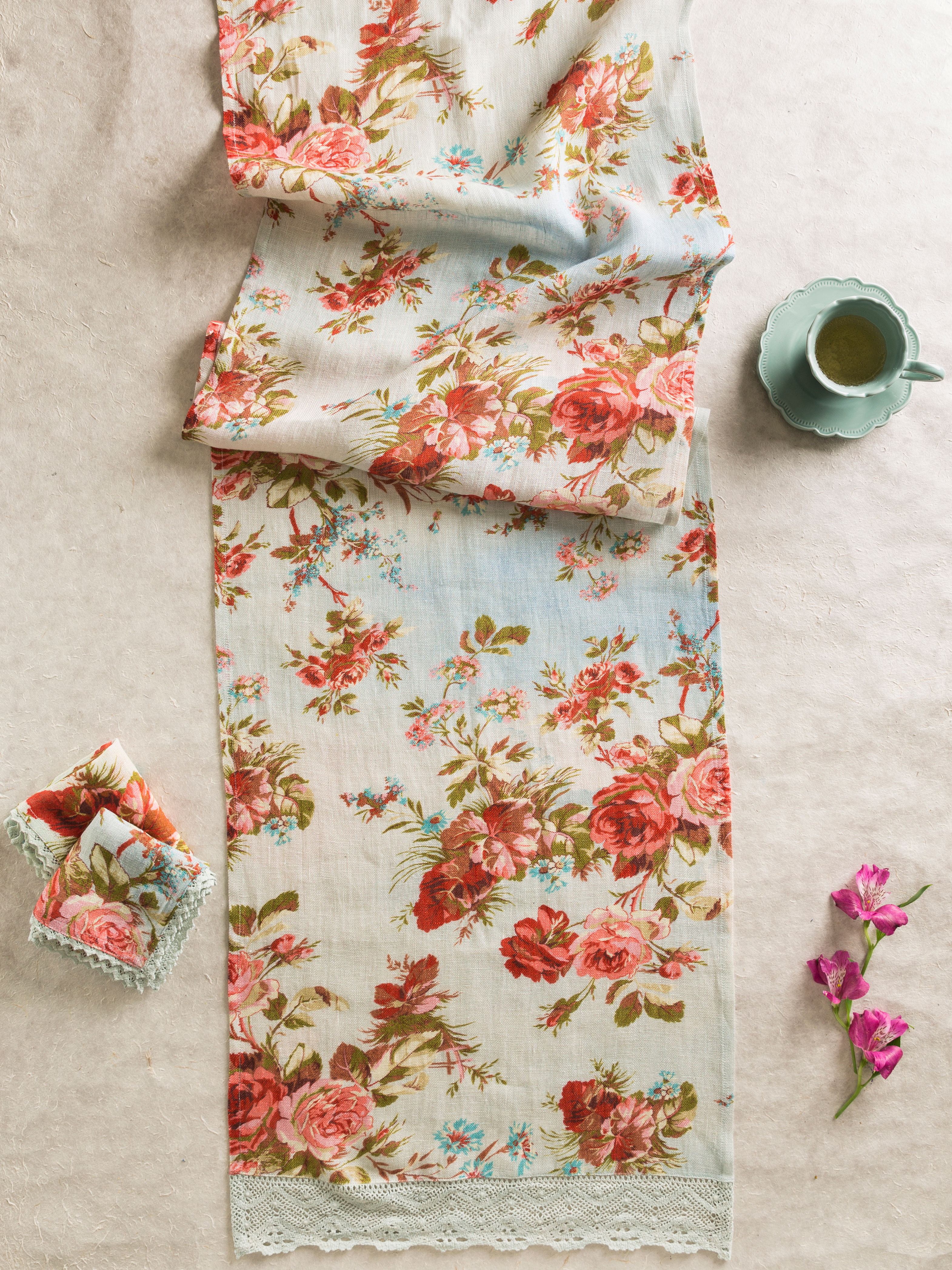 Heirloom Rose Linen Runner