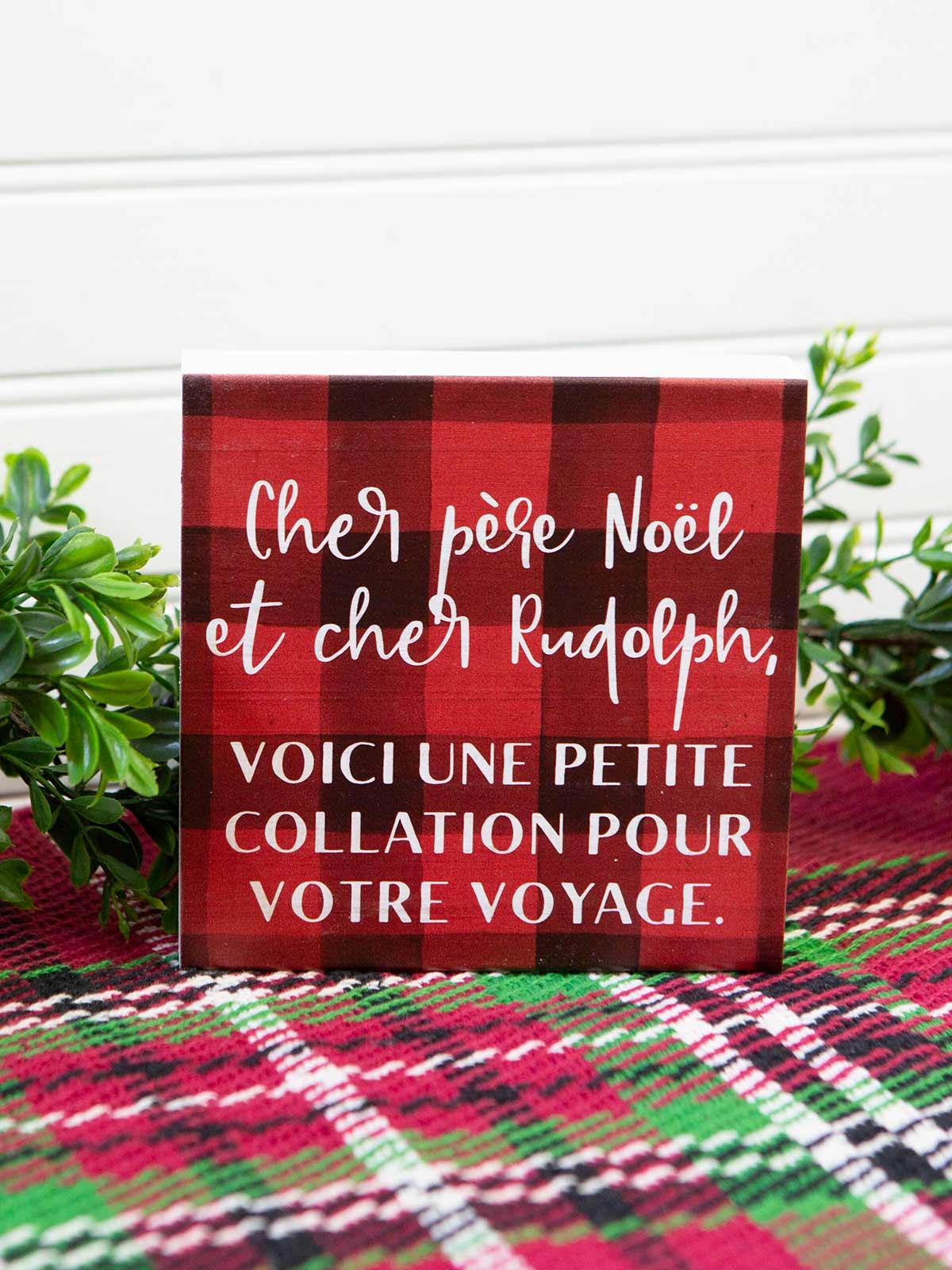 Cher Pere Noel Panneau de Bois
