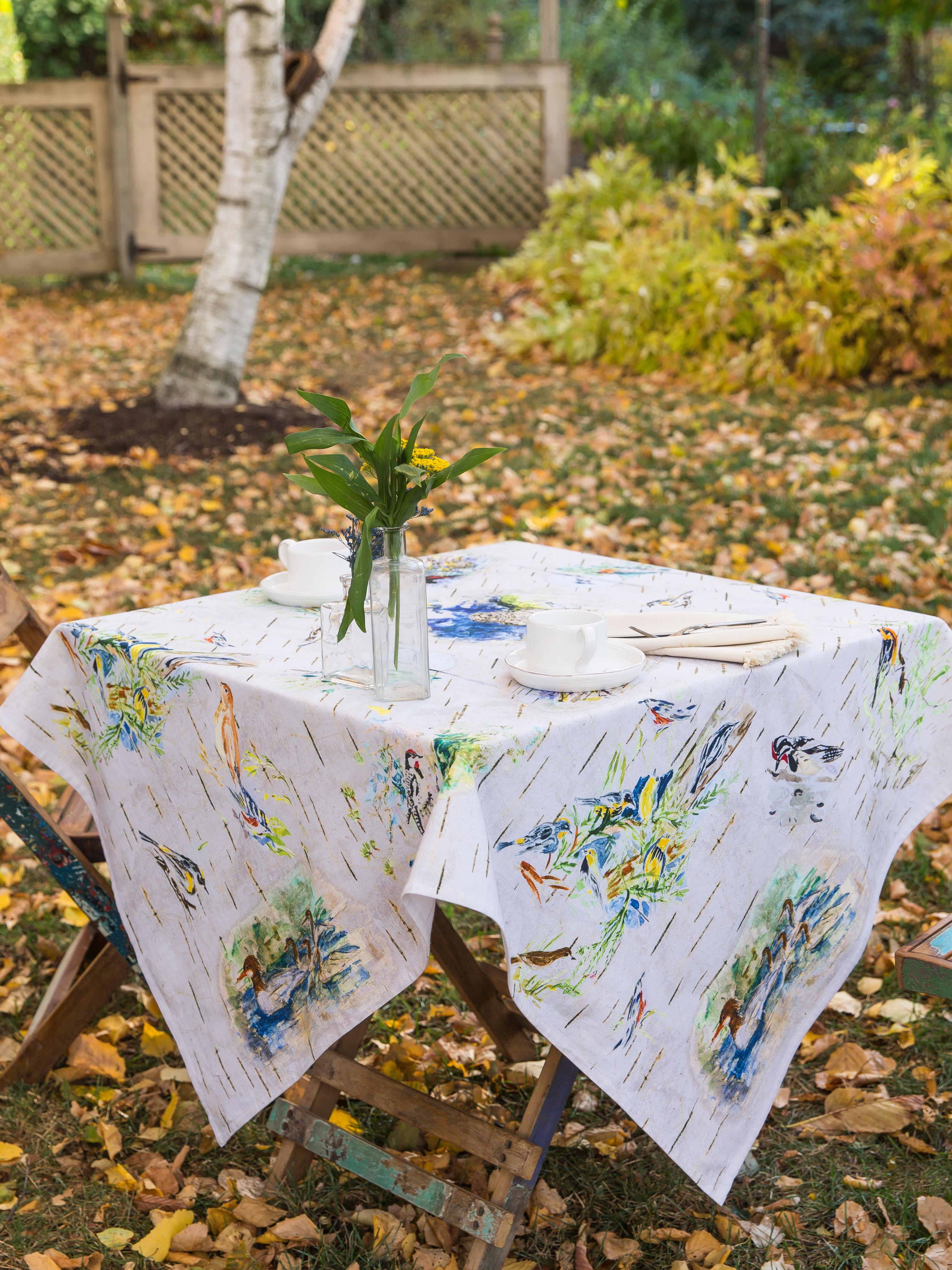 Boreal Birch Birds Tablecloth