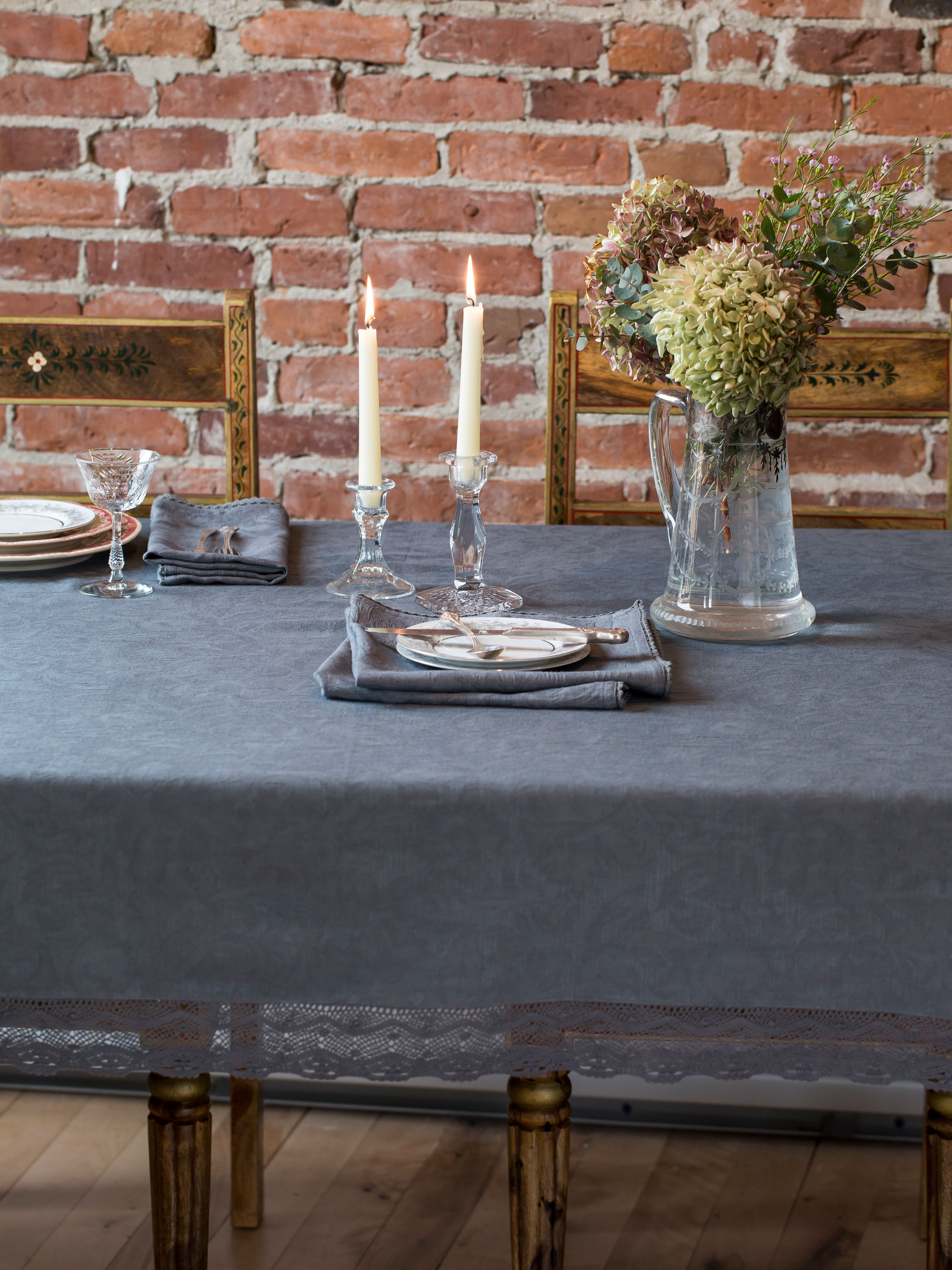 Delicieux Luxurious Linen Jacquard Tablecloth   Charcoal
