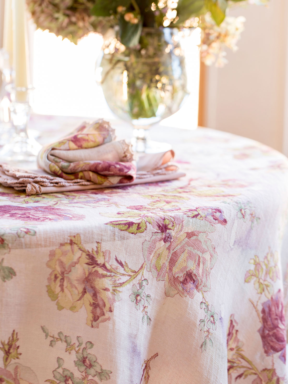 Victorian Rose Linen Tablecloth Kitchen Amp Table Linens