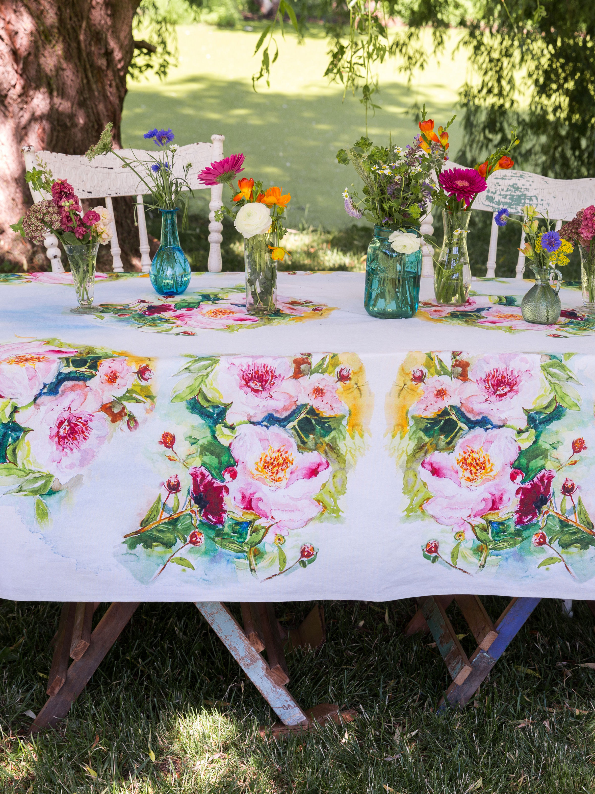 Peony watercolor tablecloth linens kitchen tablecloths peony tablecloth workwithnaturefo