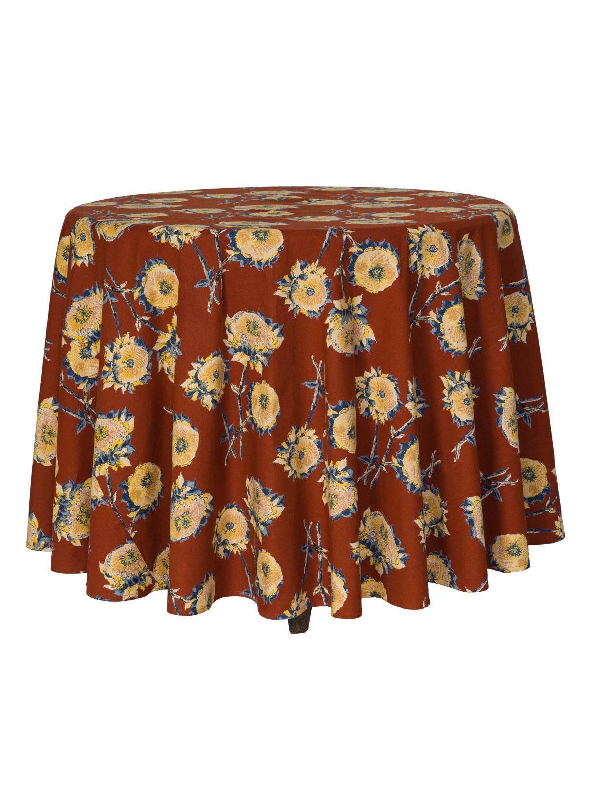 Sun Follower Round Tablecloth - Rust