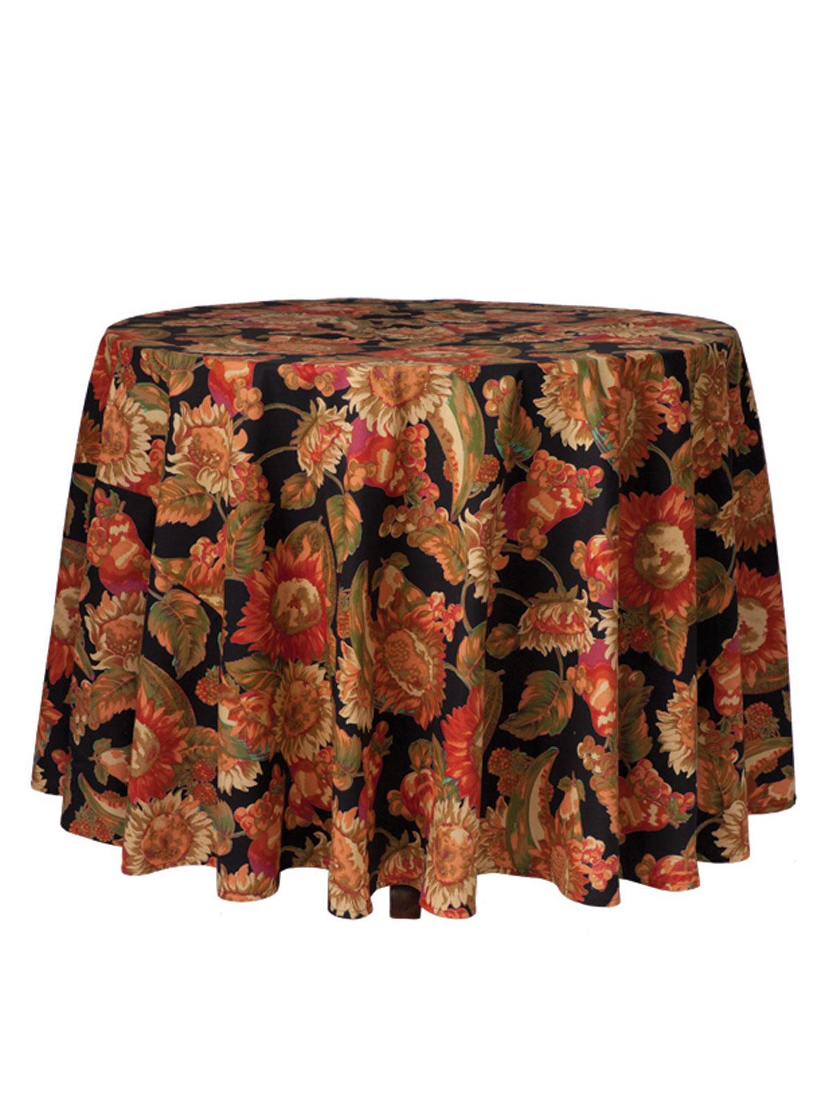 Sunflower Round Tablecloth - Black