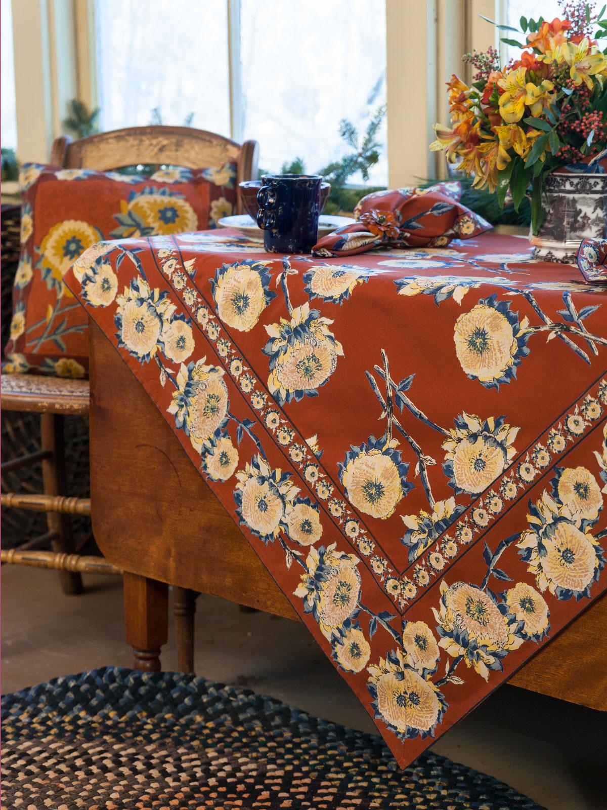 Sun Follower Tablecloth - Rust