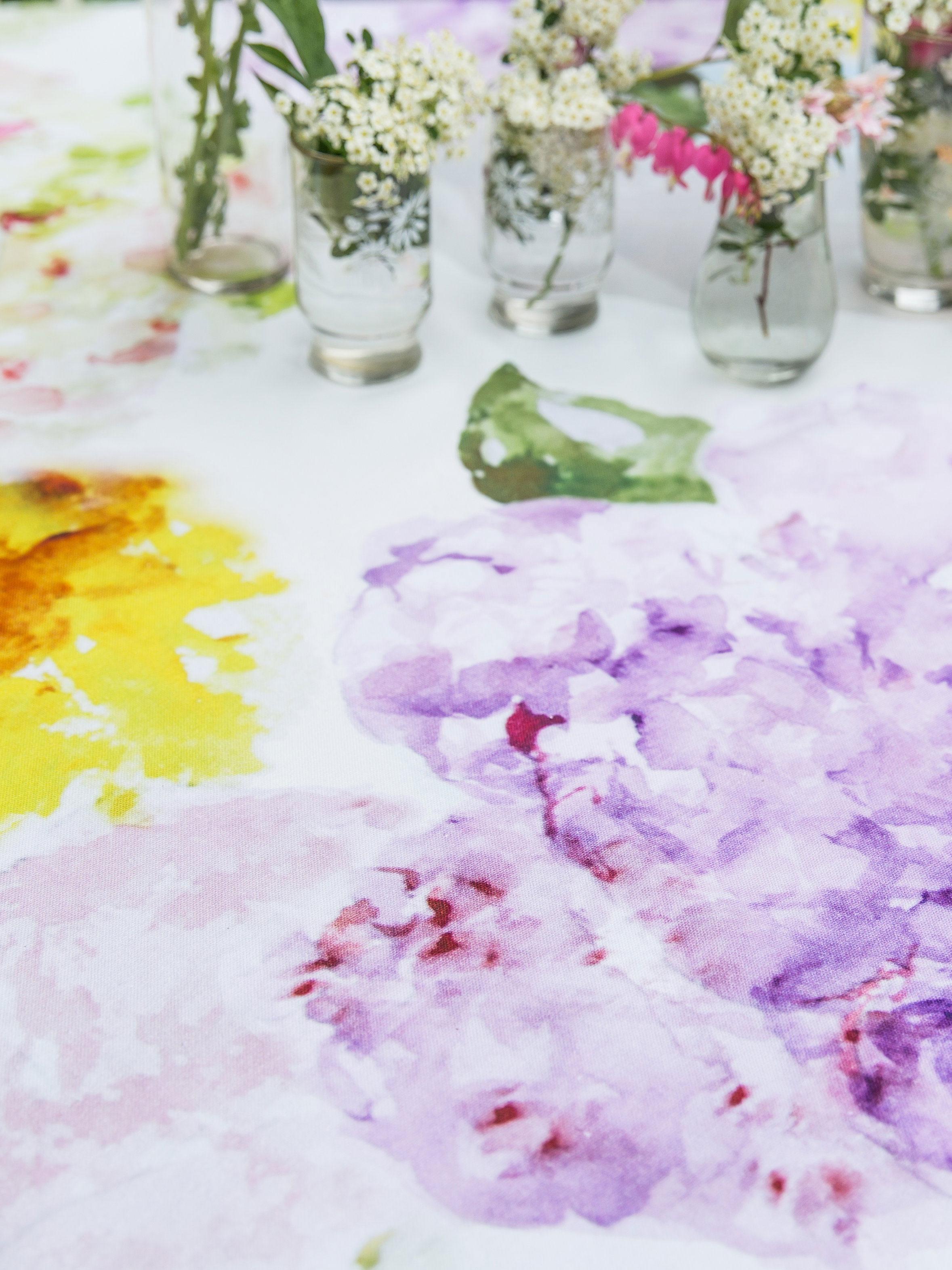 Tumbling Hydrangea Watercolor Tablecloth