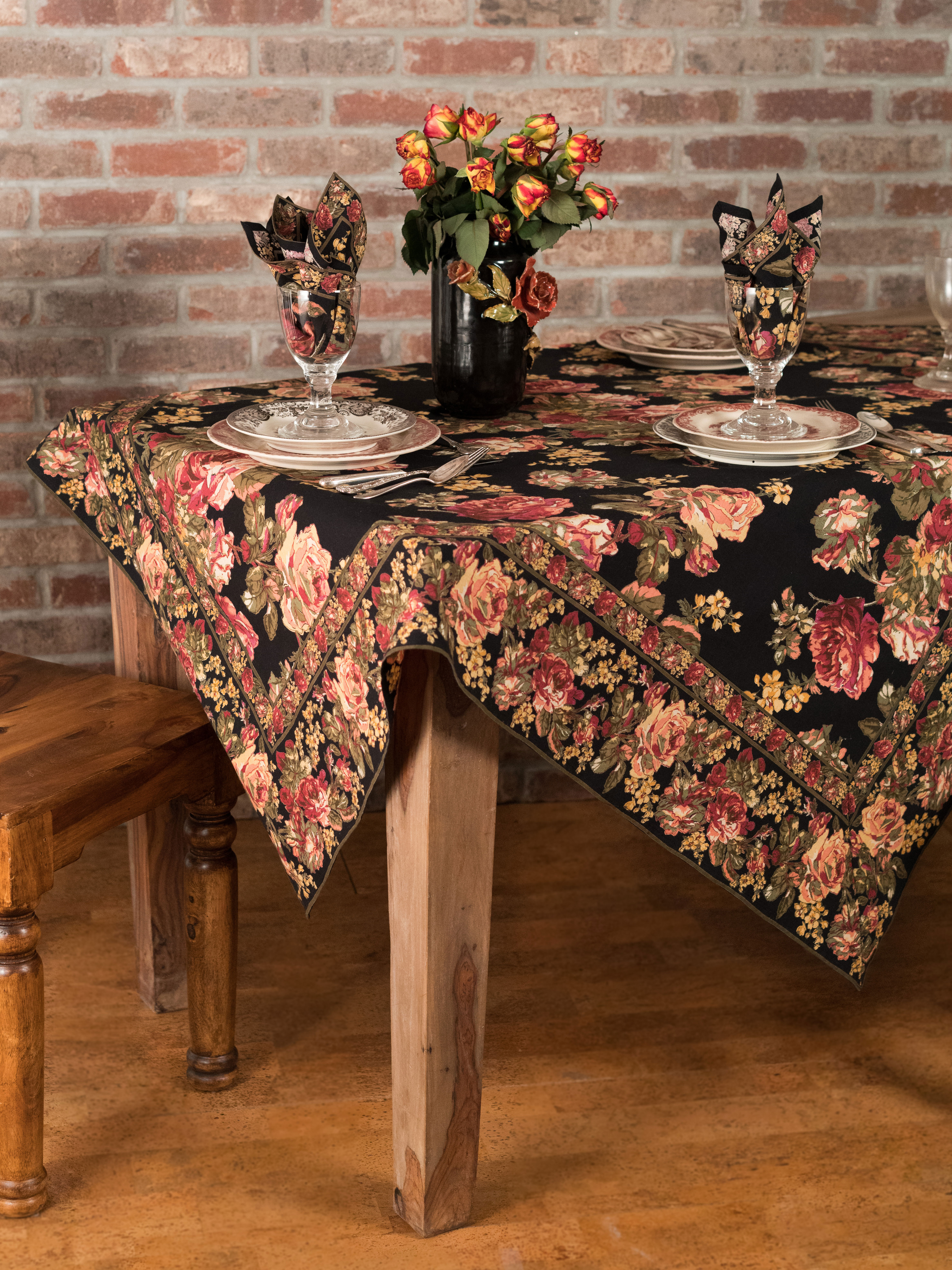 victorian rose tablecloth kitchen table linens