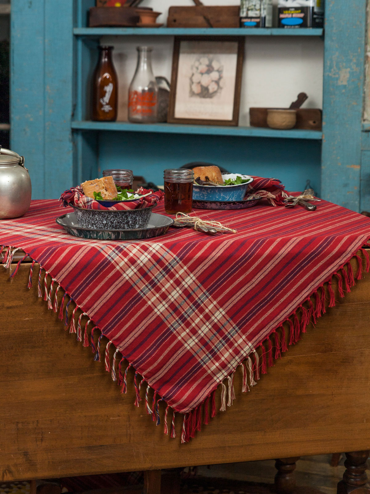 Cinnamon Plaid Tablecloth
