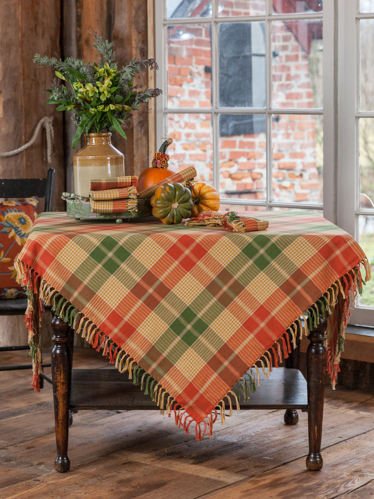 Pumpkin Plaid Tablecloth