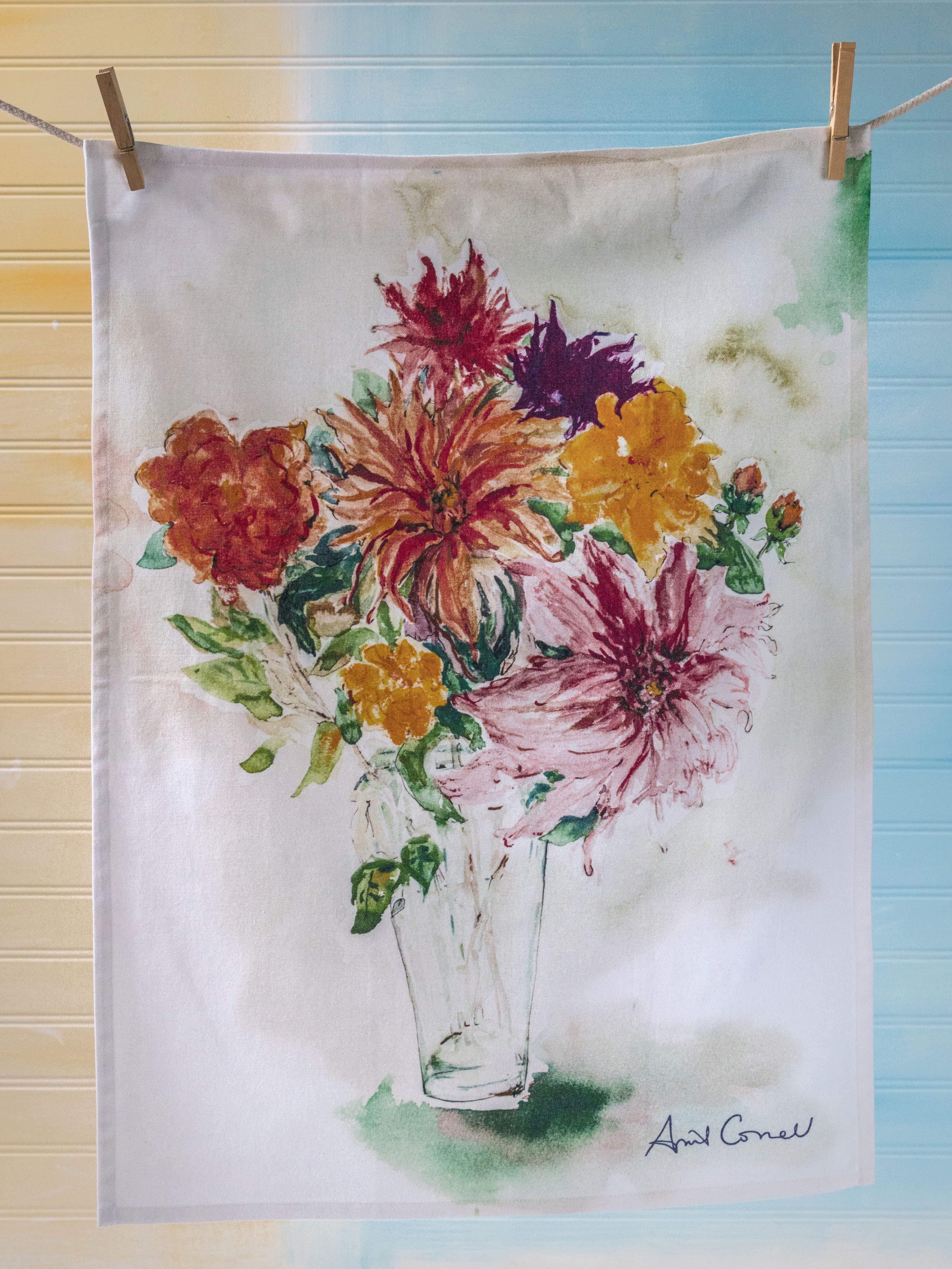 Mums watercolor tea towel mums tea towel izmirmasajfo