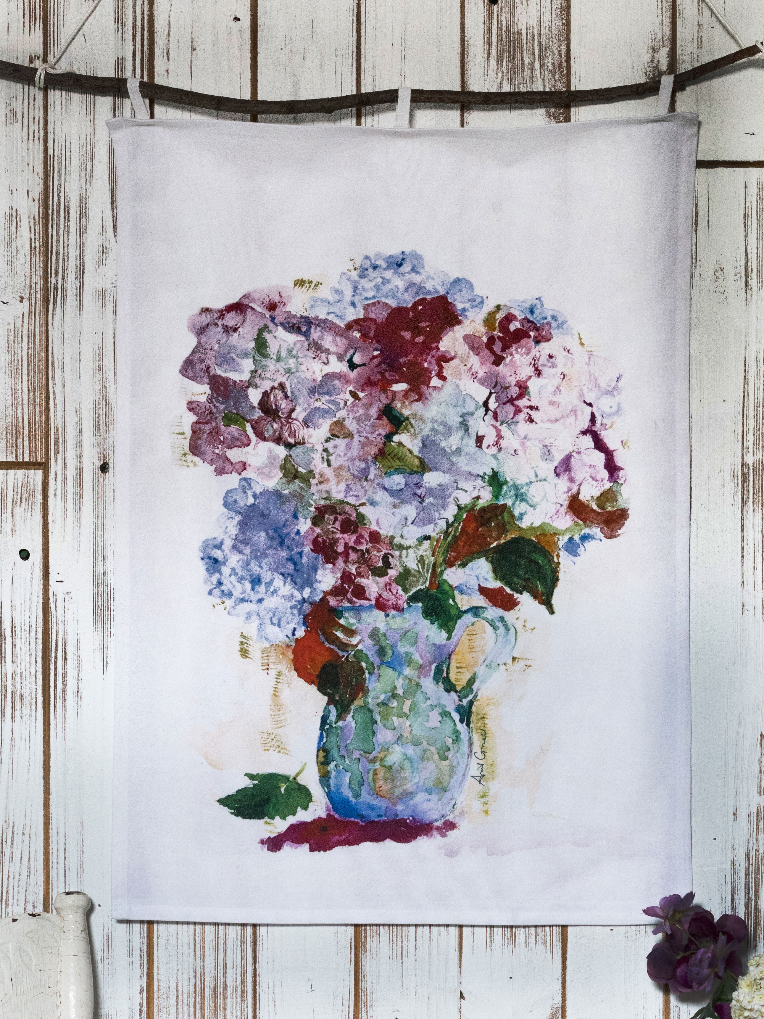 My True Love's Hydrangea Tea Towel