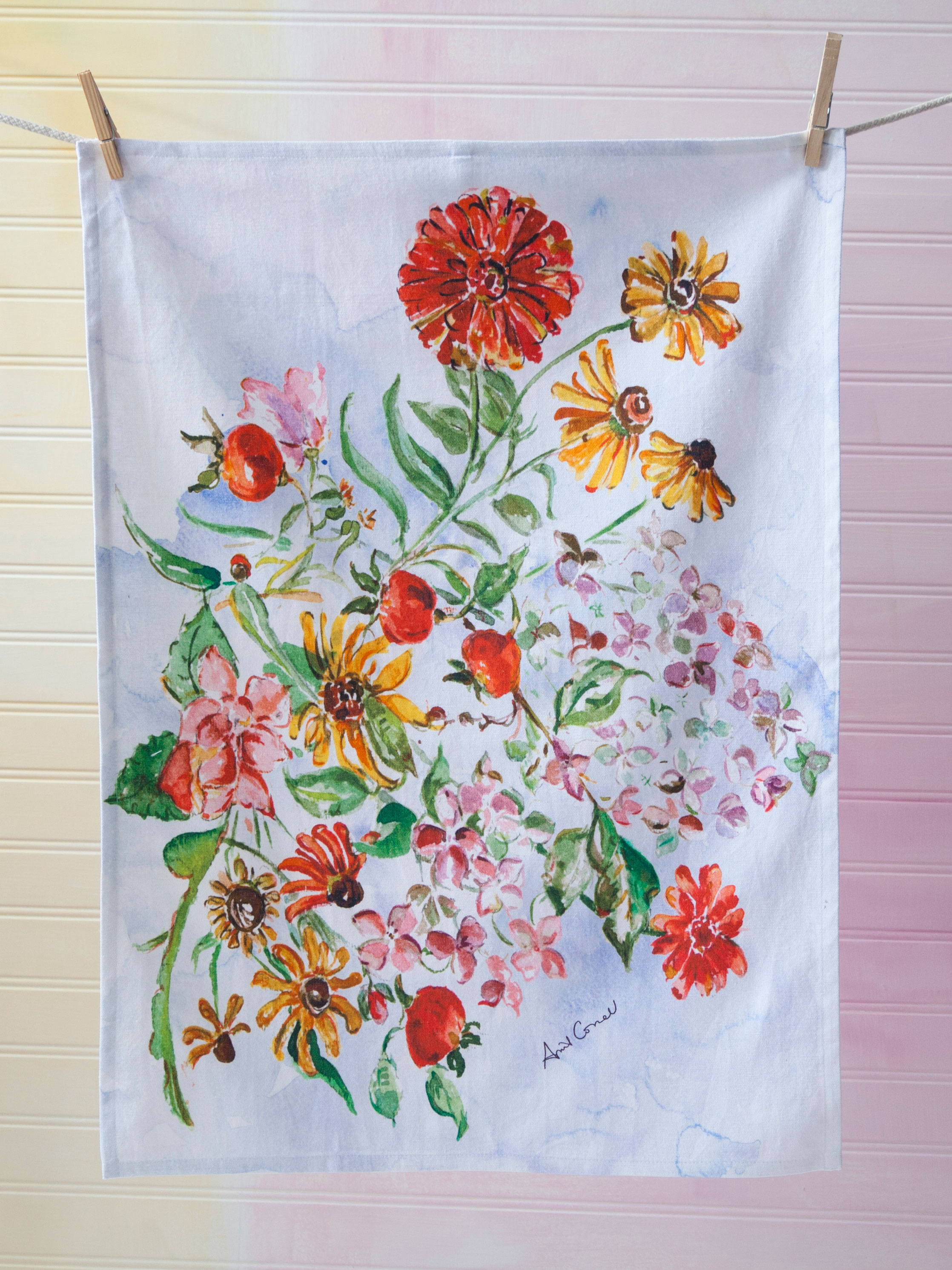 Zinnia Bouquet Tea Towel