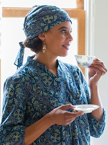 Indigo Wildflower Turban