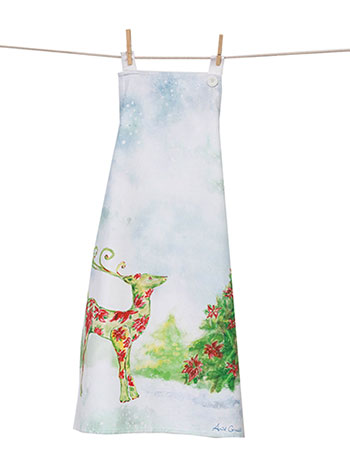 Dear Poinsettia Adult Apron