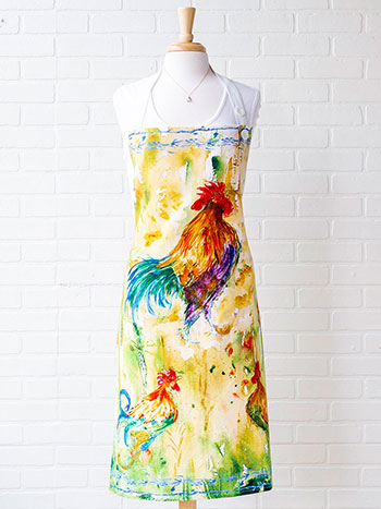 Rooster Watercolor Chef Apron