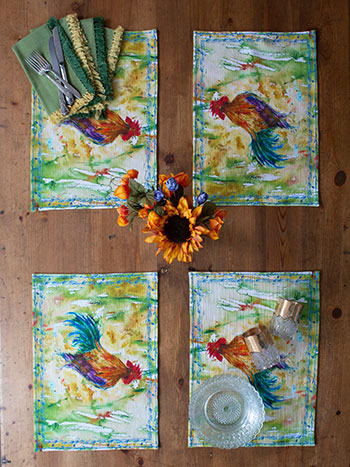 Rooster Watercolor Placemat Bundle