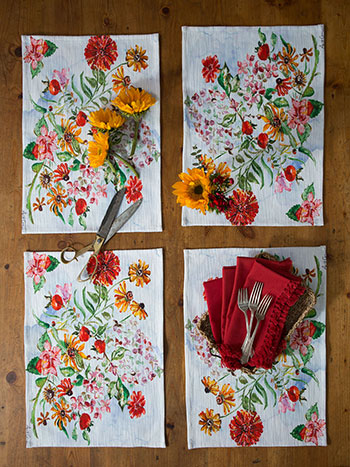 Zinnia Bouquet Placemat Napkin Bundle