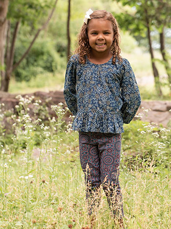 Indigo Vine Little Girl Blouse