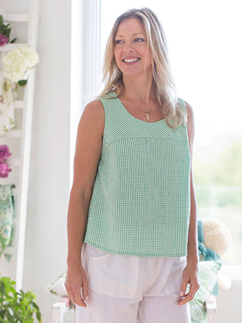 Spearmint Check Blouse
