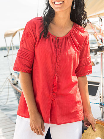Tassle Red Blouse
