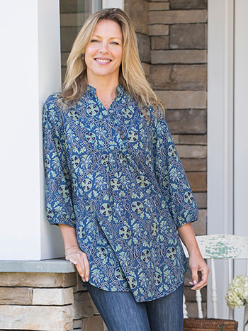 Indigo Wildflower Blouse