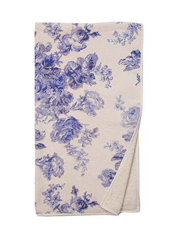 Victorian Rose Terry Bath Towel - SoftBlue