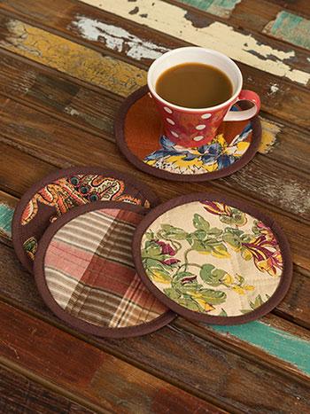 Harvest Riches Patchwork Coaster Set/4