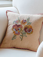 Pansy Emb Cushion