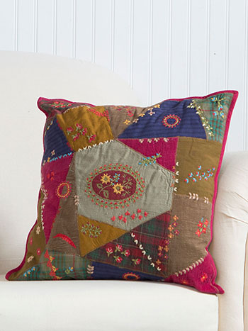 Sentimental Embroidered Patch Cushion