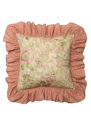 Tea Rose Frilled Cushion Cover