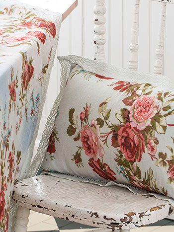 Heirloom Rose Linen Cushion