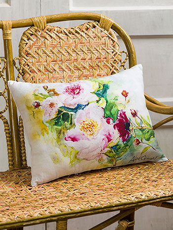 Peony Watercolor Cushion
