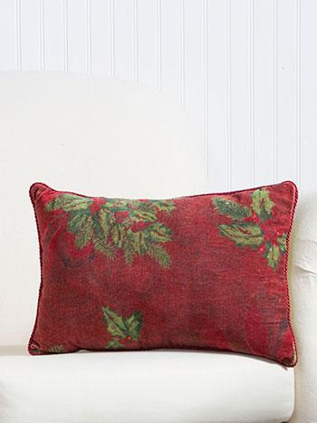 Deck The Holly Velvet Cushion
