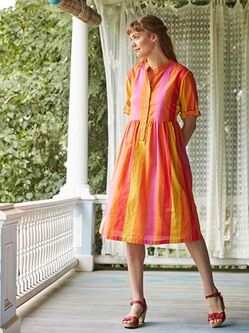 Fiesta Stripe Shirt Dress