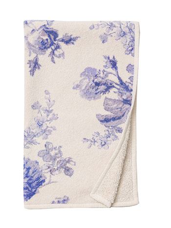 Victorian Rose Terry Hand Towel - SoftBlue