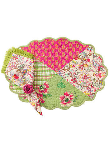 Bright Patchwork Placemat Quilted Set/4
